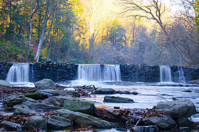 Autumn On The Wissahickon Waterfall Art Print by Bill Cannon
