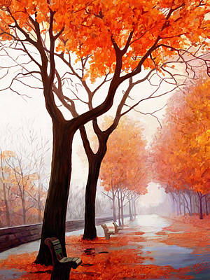 Mountain Valley Painting - Autumn Orange by James Shepherd