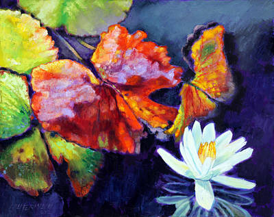 Water Lily Leaves Painting - Autumn Palette by John Lautermilch