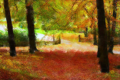 Maple Leaf Art Mixed Media - Autumn Park With Trees Of Beech by Tommytechno Sweden