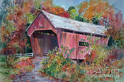 Covered Bridge Painting - Autumn Passage by Sherri Crabtree