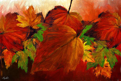 Falling Leaves Digital Art - Autumn Passion by Lourry Legarde