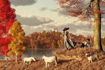 Playful Digital Art - Autumn Pastoral by Daniel Eskridge
