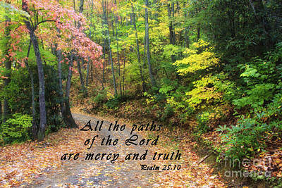 Autumn Path With Scripture Art Print