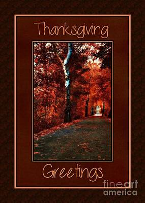 Digital Art - Autumn Pathway Thanksgiving by JH Designs