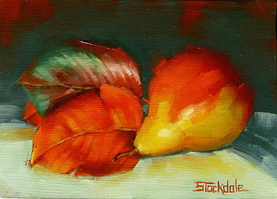 Painting - Autumn Pear Leaves And Fruit by Margaret Stockdale