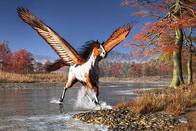 Wrath Digital Art - Autumn Pegasus by Daniel Eskridge