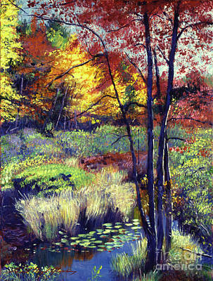 Featured Painting - Autumn Pond by David Lloyd Glover