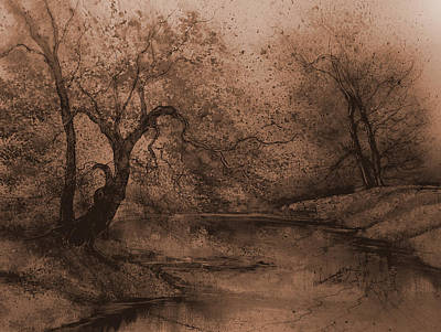 James Earl Ray Painting - Autumn Pond IIi by Anna Sandhu Ray