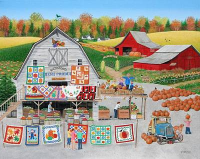 Painting - Autumn Quilts by Wilfrido Limvalencia