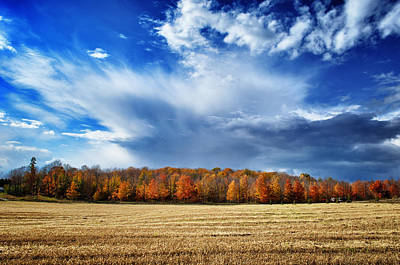 Photograph - Autumn Rain Over Door County by Mark David Zahn
