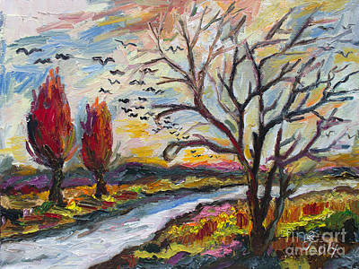 Painting - Autumn Red And Bird Migration by Ginette Callaway
