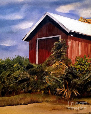 Painting - Autumn - Red Barn - Cropped Version by Jan Dappen