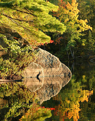 Photograph - Autumn Reflection. Photograph - Trees And Boulder Reflected by Rob Huntley