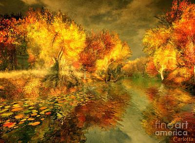 Autumn Reflections Art Print by Carlotta Ceawlin