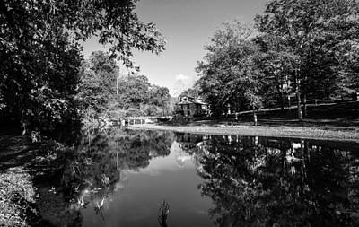 Photograph - Autumn Reflections In Mill House Pond Fine Art Black And White Photography Print by Jerry Cowart