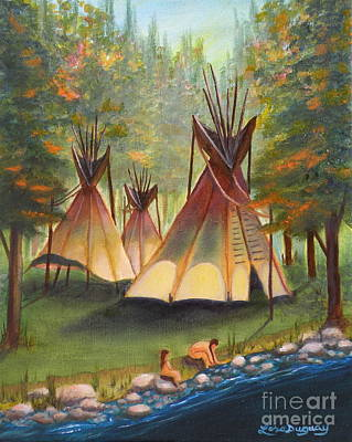 Painting - Autumn River Camp by Lora Duguay