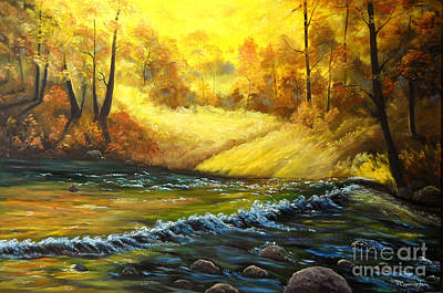 Painting - Autumn River Glory by Connie Tom