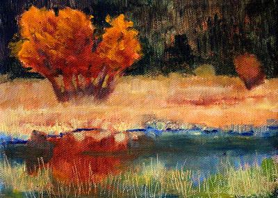 Wa Painting - Autumn Riverbank by Nancy Merkle