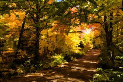 Pathway Digital Art - Autumn Road Impressions by Georgia Mizuleva