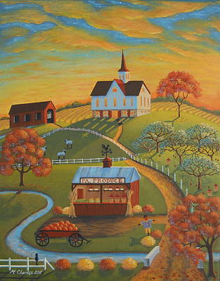 Folk Art Painting - Autumn Road by Mary Charles
