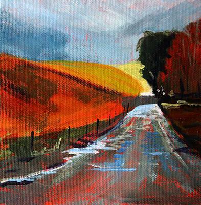 Mud Season Painting - Autumn Road by Nancy Merkle