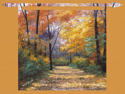 Painting - Autumn Road Tapestry Look by Diane Romanello