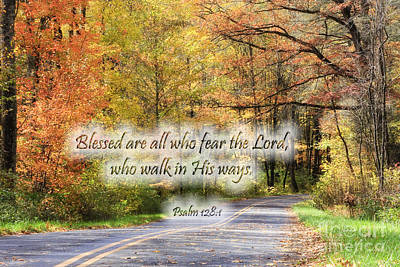 Photograph - Autumn Road With Scripture by Jill Lang