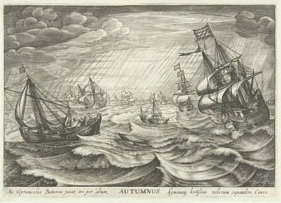 Storm Drawing - Autumn, Robert De Baudous by Robert De Baudous And Cornelis Claesz. Van Wieringen