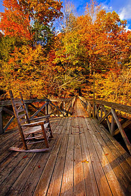 Beastie Boys - Autumn Rocking on Wooden Bridge Landscape Print by Jerry Cowart