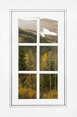 Corporate Art Photograph - Autumn Rocky Mountain Glacier View Through A White Window Frame  by James BO  Insogna