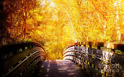 Autumn Peggy Franz Photograph - Autumn Romantic Walk Bridge by Peggy Franz