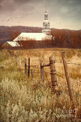 Photograph - Autumn Rural Scene With Church In Background by Sandra Cunningham