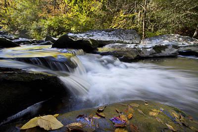 Autumn Rushing Water Art Print by Debra and Dave Vanderlaan