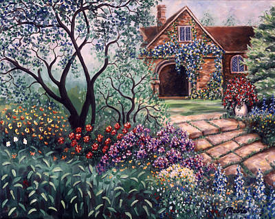 Garden Path Painting - Autumn Sanctuary by Linda Mears