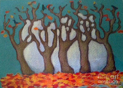 Colored Pencil Abstract Mixed Media - Autumn Scene  by Cecily Mitchell