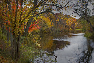 Vintage Signs - Autumn Scene of the Flat River by Randall Nyhof