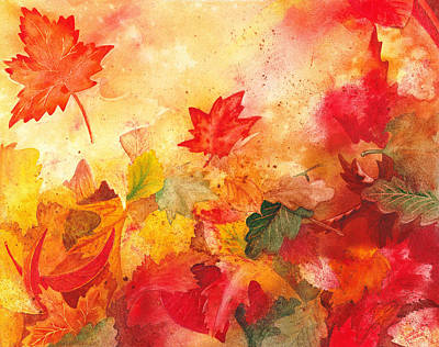 Maple Leaf Art Painting - Autumn Serenade  by Irina Sztukowski