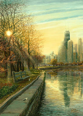 Hancock Building Digital Art - Autumn Serenity II by Doug Kreuger