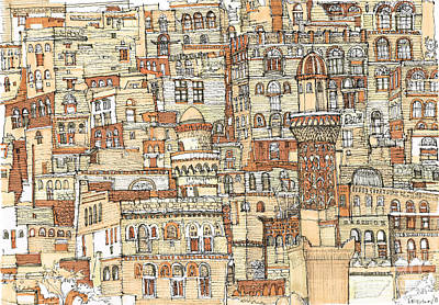 Ink Drawing Drawing - Autumn Shaded Arabian Cityscape by Adendorff Design