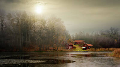 Ice Fog Photograph - Autumn Sheds by Kent Olsson
