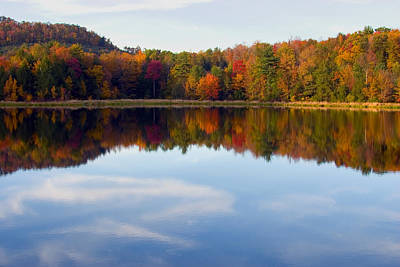 Photograph - Autumn Shoreline Reflection by Gene Walls