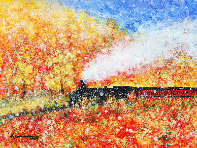 Tram Red Painting - Autumn Snow by Kume Bryant