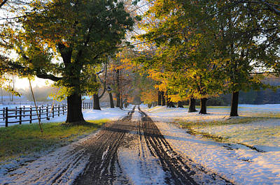 Autumn Snowfall Art Print