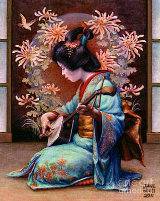 Japanese Geisha Girls Painting - Autumn Song by Jane Bucci