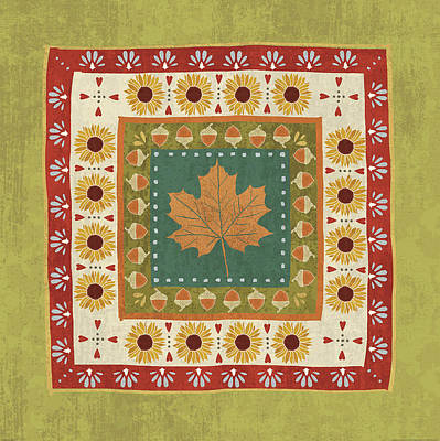 Silver Leaf Painting - Autumn Song Tiles II by Veronique Charron
