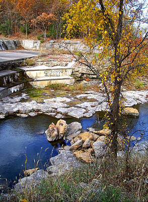 Autumn Spillway Lake Jacomo Art Print by Ellen Tully