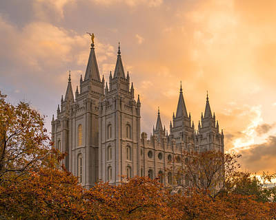Salt Lake Temple Wall Art - Photograph - Autumn Splendor by Dustin  LeFevre