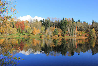 Photograph - Weyerhaeuser Corporation Headquarters Lake In Autumn  by Jennie Marie Schell