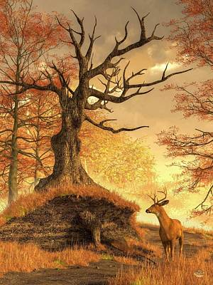 Autumn Stag Art Print by Daniel Eskridge